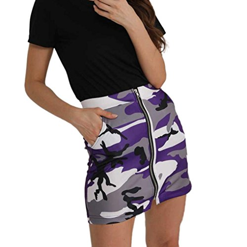 Fte Mini-jupe Moulante  Rayures Femme Sexy,OverDose t Casual Taille Haute Fermeture clair Imprime Camouflage Club Dress Courte Skirt Violet