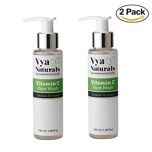 Set of 2 Vya Naturals Vitamin C Facial Cleanser- Anti Aging, Breakout & Wrinkle Reducing Face Wash With Natural Ingredients- Best Cleanser for Oily Skin, Dry Skin & Normal Skin