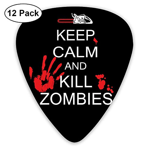 Keep Calm Kill Zombies Halloween 351 Shape Classic Picks 12 Pack For Electric Guitar Acoustic Mandolin Bass ()