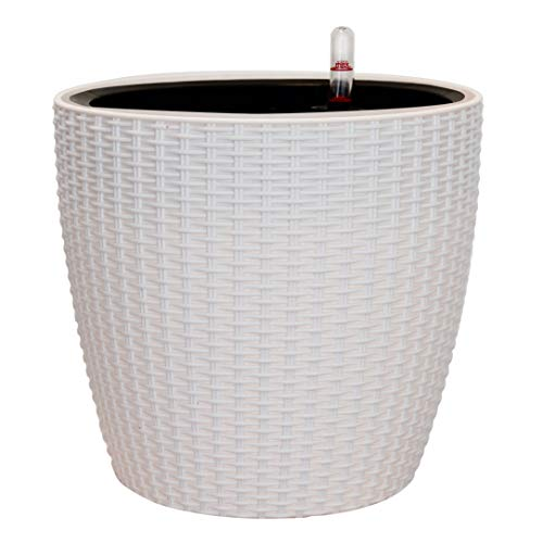 TABOR TOOLS Self-Watering Planter 8.5 Inch, Modern Decorative Pot for Outdoor or Indoor Garden, Elegant Plastic Wicker Rattan Look, Suitable for Plants & Flowers. TB503A. (8.5 Inch, White)