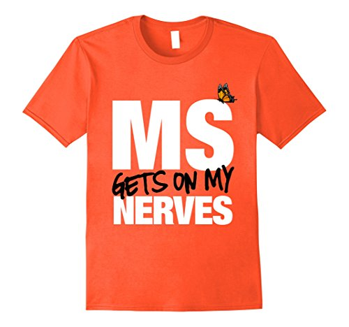 Mens Multiple Sclerosis Gets on my Nerves MS Awareness T-Shirt 3XL Orange
