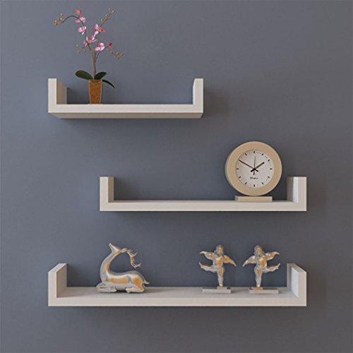 Kaluo Set of 3 Floating U Wall Mount Shelves Display Modern Room and Office Decor(US (Modern Floating Shelf)