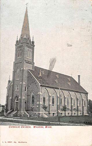 Wadena Minnesota Catholic Church Street View Antique Postcard K103712