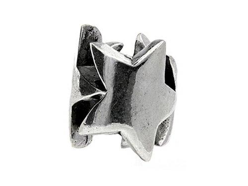 SilveRado Sterling Silver Three Stars Bead / Charm (Charm Silverado Bead)