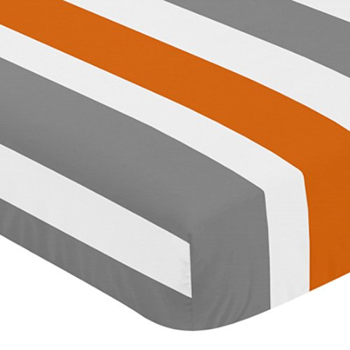 Sweet Jojo Designs Fitted Crib Sheet for Modern Gray and Ora