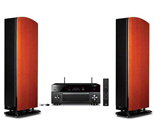 Polk Audio Home Theater System | 2 LSiM705 Superior Performance Floor-Standing Tower Speakers (Mt. Vernon Cherry) + Yamaha Expandable Audio & Video Component Receiver Black (RX-V2085)
