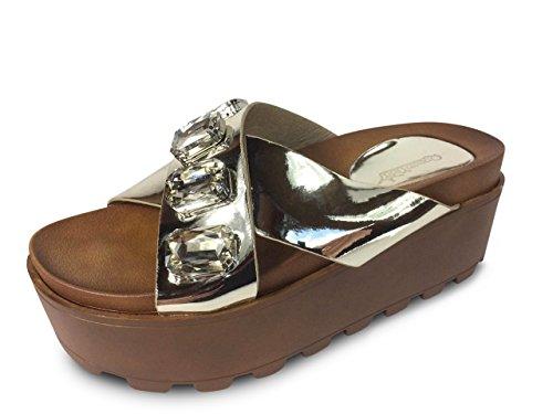 Schuhtraum Damen Sandalen Plateau Sandaletten Glitzer Nieten High Heels ST002 Gold