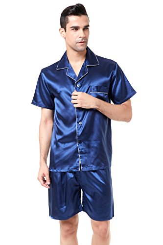 TONY AND CANDICE Men's Short Sleeve Satin Pajama Set with Shorts (X-Large, Navy Blue with White Piping) by TONY AND CANDICE