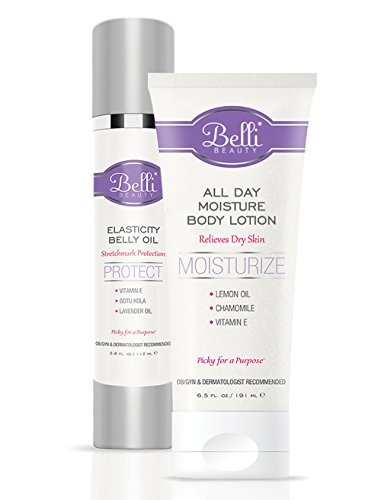 Belli Your Best Baby Bump Duo – Safeguard Against Stretch Marks and Comfort Dry Skin with Elasticity Belly Oil and All Day Moisture Body Lotion – OB/GYN and Dermatologist Recommended