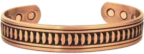Copper Cuff Design - Men's Powerful 6 Magnet Magnetic Therapy Copper Cuff Bracelet Minimum 2000 Gauss Each Magnet