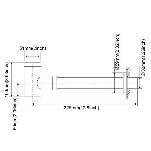 Shile Matte Black Brass Bottle P-Trap Wash Pipe Waste Adjustable Height Outlet for Basin Plumbing Bathroom Sink by Shile (Image #2)