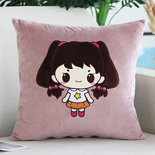 Korean cartoon pillow pillow square pillowcase sofa office cushion cover@Little sheep (powder)_Cushion (pillowcase,pillow core) 45x45cm