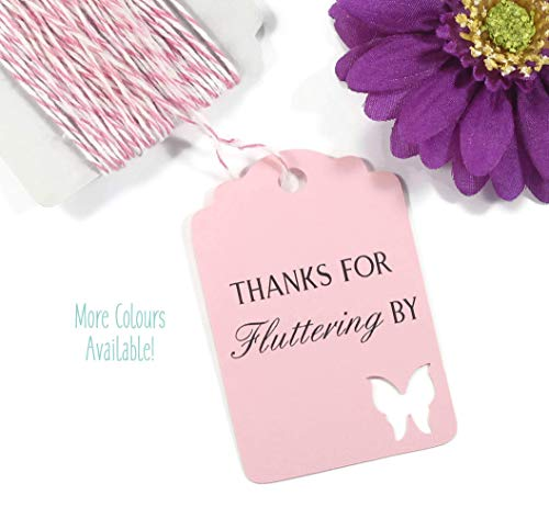 Butterfly Favor Tags - Light Pink Butterfly Thank You Tags - Thanks for Fluttering By (Set of 20)