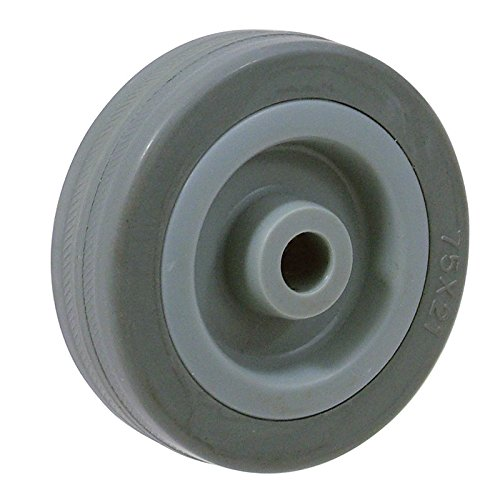 BIL BZMM150WGR Series WGR Wheel, Rubber On Polypropylene, 150 mm Diameter, 40 mm Tread, 45 mm Hub, 15 mm Bore, 110 kg Load, Grey BIL Group Ltd