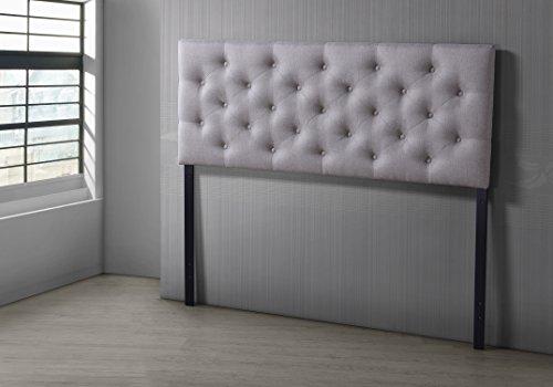 Fabric Upholstered Headboard (Baxton Studio Viviana Modern & Contemporary Fabric Upholstered Button Tufted Headboard, Full, Light Beige)