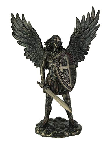 VERONESE Resin Statues St. Michael The Archangel in Battle Gear Bronze Finish Statue 10.5 X 13.75 X 4.5 Inches Bronze