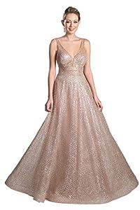 Meier Women's Glitter Tulle Double V-Neck A-Line Prom Formal Gown