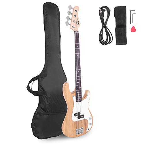 Glarry Electric Bass Guitar Full Size 4 String Rosewood Basswood Fire Style Exquisite Burning Bass ( Burly Wood )