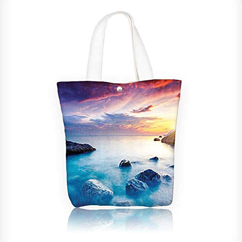 Canvas Zipper Tote Bag Printed Collection Majestic Summer Sunset Dramatic Overcast Sky Crimea Ukraine Shoreline Exotic View Aqua Reusable Canvas Zipper Tote Bag Printed 310% Cotton W11xH11xD3 INCH (Cotton Shoreline Tote)