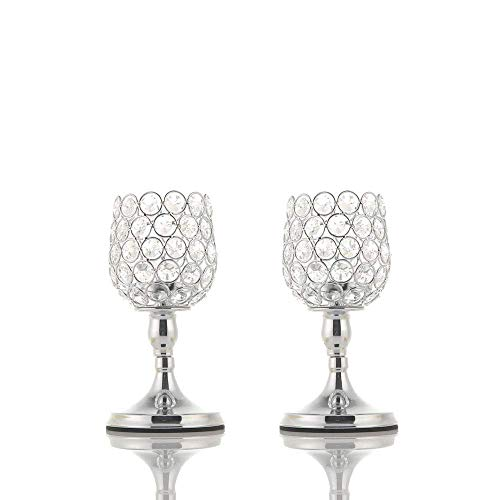 Holders Candle Glass Decorating - VINCIGANT 2 PCS Silver Glass Modern Lantern/Pillar Candle Holders for Anniversary Celebration Gifts,8 Inches Tall