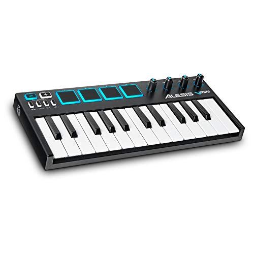 Alesis VMini | Portable 25-Key USB MIDI Keyboard Controller with 4 Backlit Sensitive Pads, 4 Assignable Encoders and Professional Software Suite with ProTools | First Included (Best Compact Midi Keyboard)
