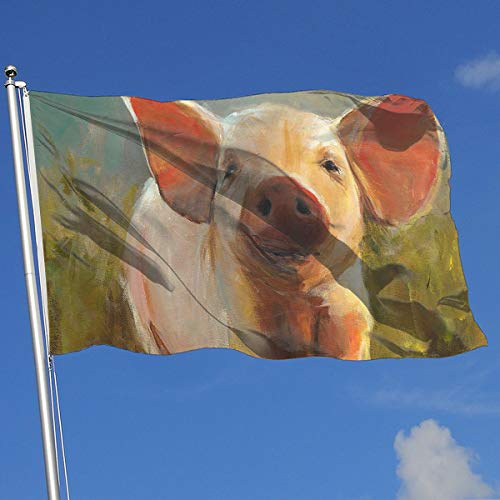 DENETRI DYERHOWARD Fly Breeze 3 X 5 Foot Flag Pig Watercolor Vivid Color and UV Fade Resistant Canvas Header and Double Stitched Garden Flags ()