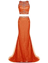 Tideclothes Two Pieces Long Evening Dress Mermaid Lace Prom Dress Beading