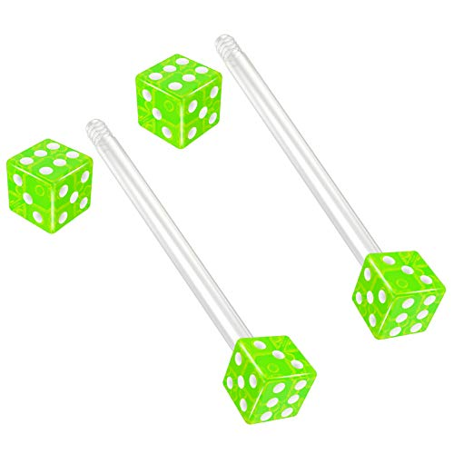 Bling Piercing 2pc 14g 1.6mm Flexible Tongue Rings Bioflex 19mm 3/4 Bioplast Barbell Ring Green Acrylic Dice