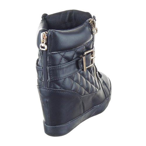 Sopily - Chaussure Mode Baskets compensée Cheville femmes Matelassé Talon compensé 8 CM - Intérieur textile - Noir/Or