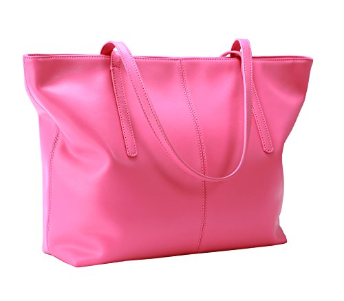 Pink Leather Tote Bag (Heshe Womens Leather Work Totes Top Handle Bag Shoulder Handbags (Pink))