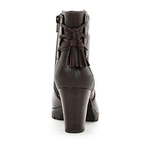 ALESYA by Scarpe&Scarpe - Botines altos bimaterial con borlas, de Piel, con Tacones 8 cm Marrón