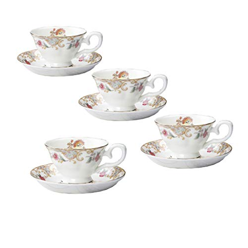 JinGlory Fine Bone China Tea Cup and Saucer Set of 4 Golden Edge Coffee Cup Set for Mocha Latte Cappuccino (Flowers royal) -