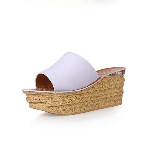 Heart&M Zapatos de cuero genuino de la cuña del talón de la mujer suela gruesa del mollete de la plataforma del talón sandalias de los deslizadores de la playa White