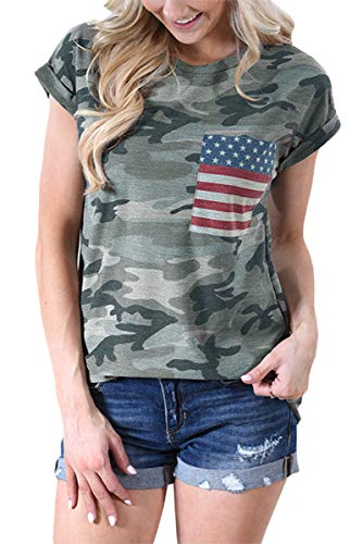 (July 4th Women's Casual Cotton Top Camo Printed Short Sleeve Summer T Shirt with American Flag Pocket M)