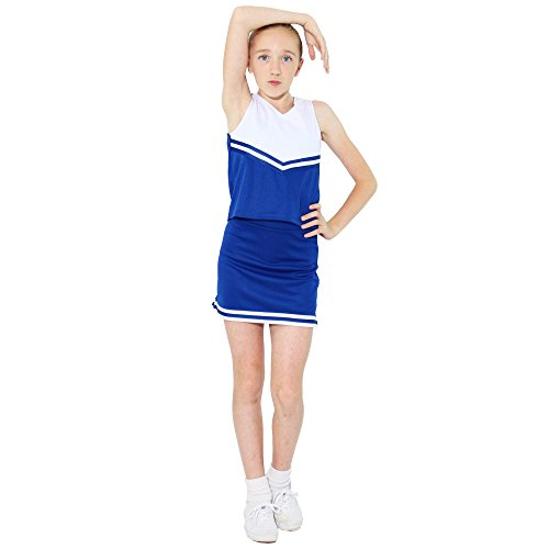 Danzcue Girls V-Neck Cheerleaders Uniform Shell Top, Royal/White, Small