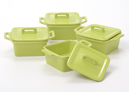 O-Ware Citron Stoneware Mini Square Baker with Lid, Set of 4