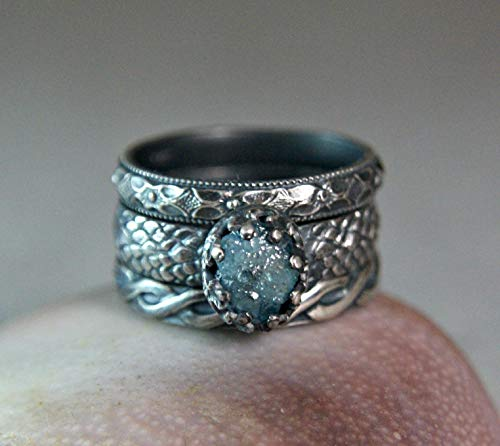 (Rough Blue Diamond Oxidized Sterling Silver Stacking Rings Unique Vintage Style Custom Made Wedding Set)