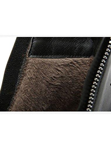 Compensées Toison Véritable MatchLife Plateforme Chaussures Antidérapant Femmes Noir Cuir Ascenseur 4C1CwXYq