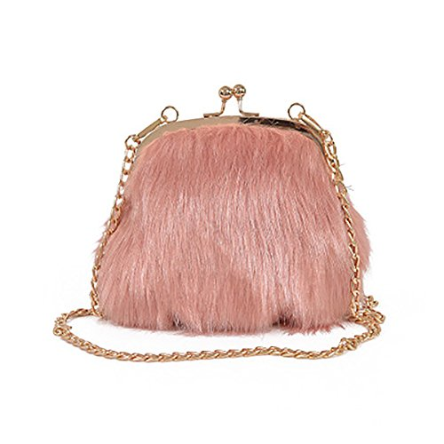 Crossbody Handbags Fashion Feather Chain Shoulder Purse Pink Fur Fluffy Faux Bags Kiss Soft Lock Mini Women 0Rr0O