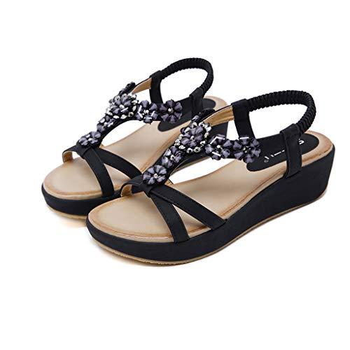 (Aunimeifly Women's Open Toe Sandals Bohemian Flower Rhinestones Wedge Elastic Roman Shoes Black)