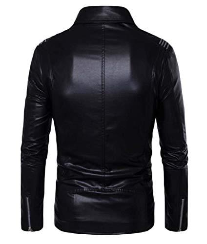 Jacket Casual XINHEO Coat Turn Down Collar Leather Moto Men Slim Fashion Black 1f1xnZv