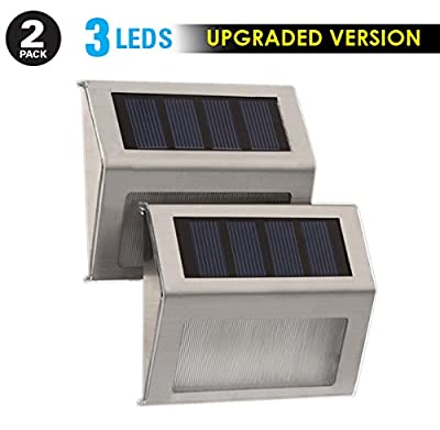 Humabuilt 3 LED Solar Powered Stainless Steel Stairway Lights. *Bright/Cool White Light* - Modern Lighting For Your Deck, Staircase, Walkway, Patio, Garden, and Landscaping - 2 Pack