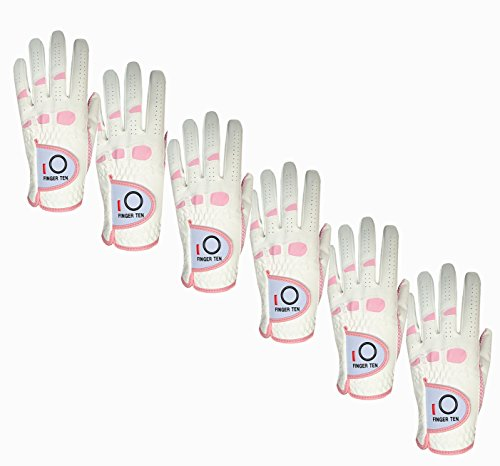 Pink Left Handed Golf Glove (Women's Ladies Golf Glove Right Hand Left Value 6 Pack, All Weather Extra Grip, Fit Woman Girl, Size Small Medium Large XL, By Finger Ten (Large, Worn on Right Hand(Left-Handed Golfer)))