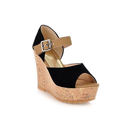 AllhqFashion Womens Buckle Open Toe High-Heels Imitated Suede Platforms & Wedges Black cVNZ5R