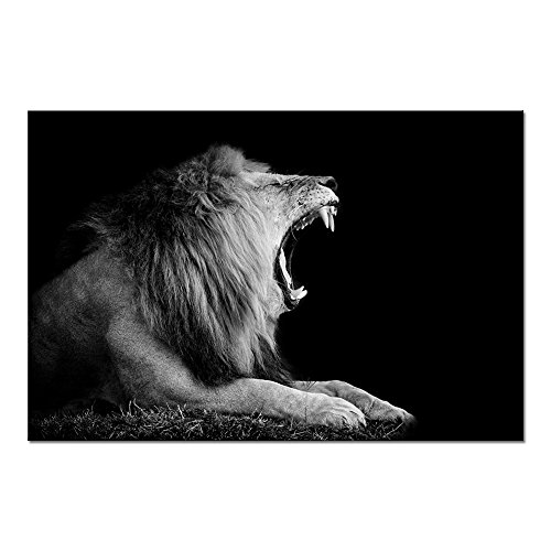 Lion Roar Picture (Sechars - Black and White Animal Wall Art Lion Roar in The Dark Pictures Print on Canvas Lion Portrait Painting Strached and Framed Ready to Hang,Modern Home Decor,-24x36)