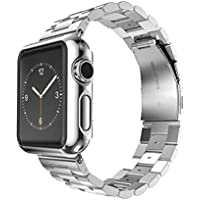 Apple Watch Band, Creazy® Stainless Steel Strap Watch Band+Adapter+Case Cover for Apple Watch 42mm (Silver)