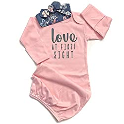 Baby Girl Love at First Sight Sleeping Gown,Swaddle Sack Coming Home Outfit Sleepwear Romper Sleeping Bags Pink