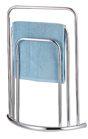 CHROME 3 TIER 3 BAR BOW FRONTED CURVED FREE STANDING TOWEL RAIL STAND KFZ & CO LTD