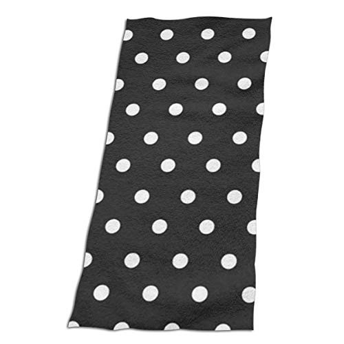 (BshaidhSax Microfiber Women's Beach Towel Bath Towel with Black and White Polka Dot)