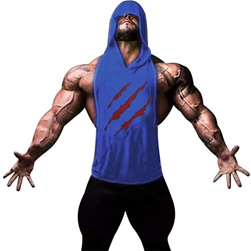 - Corriee Men Summer Vest Fashion Scratch Sleeveless Hoodies Tank Tops Pullover T Shirts Blue